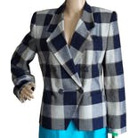 90's Double Breasted Plaid Blazer by Kasper for A.S.L.