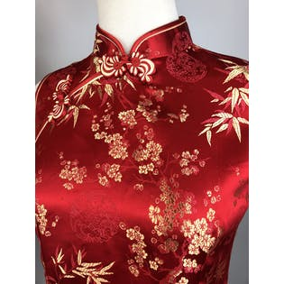 90's Red and Gold Cheongsam Blouse