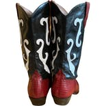 another view of 90's Red Cowboy Midi Boots by Nine West