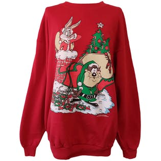 90's Red Looney Tunes Christmas Sweater by Sun Sportswear