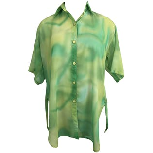 90's Sheer Green Tie Dye Oversized Button Up by Opal By Lorraine Wardy