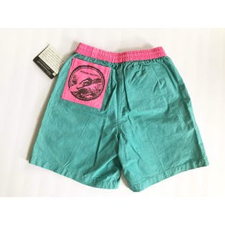 90's Teal and Bright Pink Shorts Swim Trunks by Op Ocean Pacific