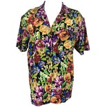 90's Silk Multicolor Floral Print Button Up Blouse by The Limited