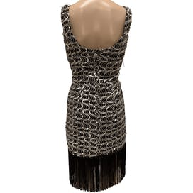 90's Silver Sequin Flapper Dress by San-Martin