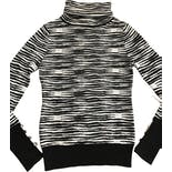 90's Zebra Striped Wool Turtleneck Sweater by Versace