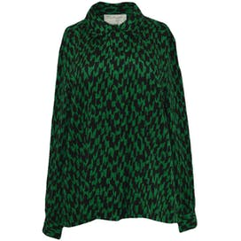 90's Black and Green Printed Blouse