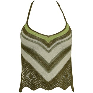 90's Crocheted Backless Olive and White Halter Top
