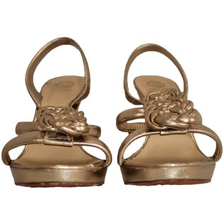 90's Versace Gold Wedge Heels by Versace