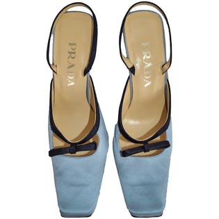 90's Square Toe Baby Blue Heels by Prada