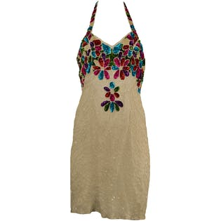90's White Beaded Halter Dress with Floral Design