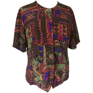 90's Abstract Patterned Blouse by Bora Bora
