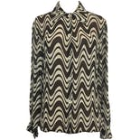 60's Dark Brown and Off-White Abstract Print Blouse