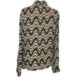 another view of 60's Dark Brown and Off-White Abstract Print Blouse