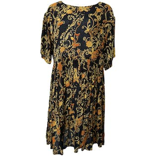 90's Black Dress with Orange Floral by Take Two Clothing Co,.