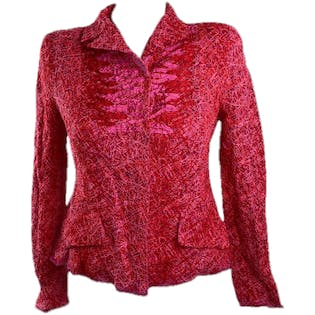 90's Pinkish Red Knit Blazer by Christian Lacroix