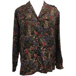 90's Floral and Leopard Print Blouse