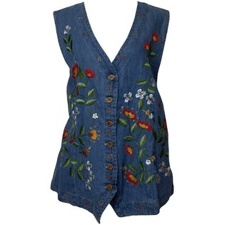 90's Floral Embroidered Denim Vest Nwt by Gitano