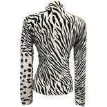 another view of 90's Zebra and Leopard Print Beaded Mock Neck Sweater by La Cité
