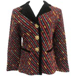 90's Multicolor Striped Blazer with Velvet Collar and Gold Cherub Buttons by Ornel'Soie Paris