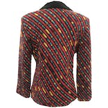 another view of 90's Multicolor Striped Blazer with Velvet Collar and Gold Cherub Buttons by Ornel'Soie Paris