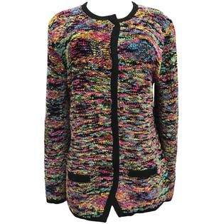 90's Multicolor Knit Cardigan by Steve Fabrikant Signature Neiman Marcus