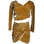 90's Mustard Crushed Velvet Stretch Two Piece by Mitra Modelle