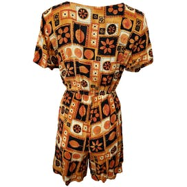 90's Orange and Black Romper by Impressions Of California