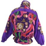 another view of 90's Purple Patterned Dolman Jacketby Clipper Bay