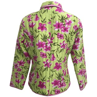 90's Quilted Floral Print Silk Jacket by Silkland