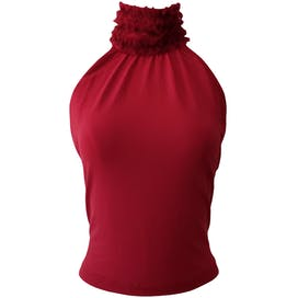 90's Ruffle Neck Raspberry Blouse by Moschino