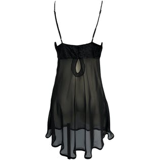 90's Sheer Black and Velvet Slip Dress by Frederick's of Hollywood