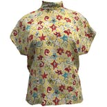 90's Short Sleeve Floral Print Mock Neck Shirt by Laurèl