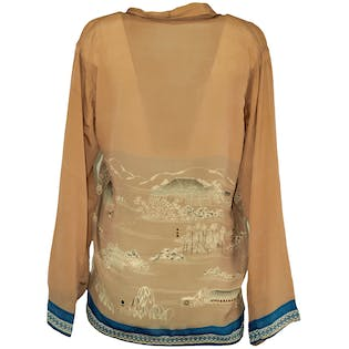 Beige Silk Blouse with City Print