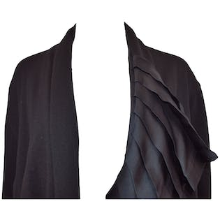 Black Cardigan With Silk Pleated Panel Collar Accent by Luciano Soprani