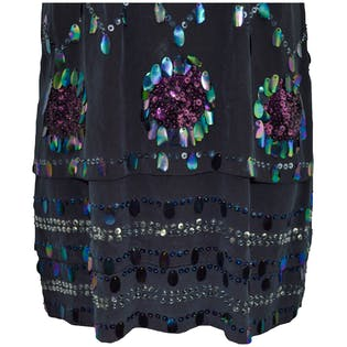 Black Chiffon and Sequin Dress by Cacharel