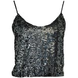 Black Cropped Sequin Tank Top
