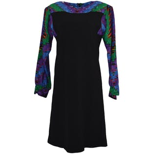 Black Dress with Colorful Pattern Sleeves Sold by Umba
