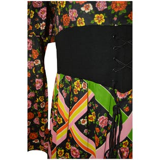 Black Dress with Orange and Pink Floral by Patty O'Neil