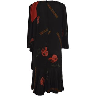 Black Dress with Red Scarf and Large Floral