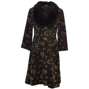 Black Floral Patterned Coat with Fur Trim