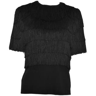 Black Fringe Shirt by Anne Klein