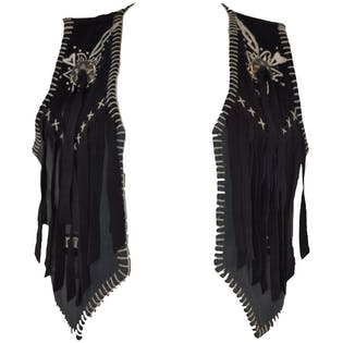 Black Frontier Vest with Fringe and Removable Conchas by Joujou