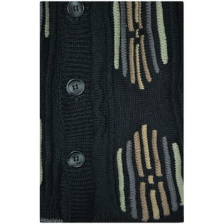 Black Knit Cardigan with Pattern and Buttons