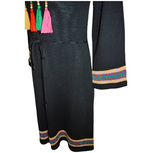 Black Knit Dress With Colorful Tassels by Milanse-dress