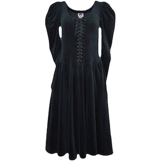 Black Lace Up Puff Sleeved Dress by Betsey Johnson