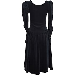 Black Lace Up Puff Sleeved Dress by Betsy Johnson