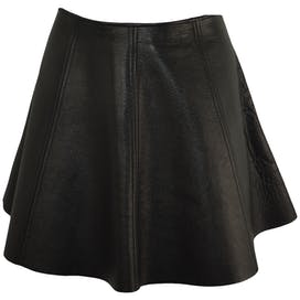 Black Leather A-line Skirt by Opening Ceremony