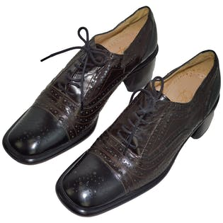 Black Leather Oxfords by Joan and David