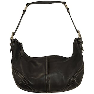 Black Leather Short Handle Purse by Coach