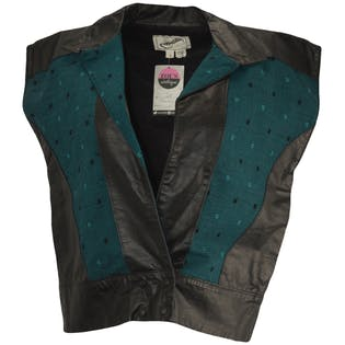 Black Leather Vest with Blue Polka Dot Fabric by Nick Pappagallo